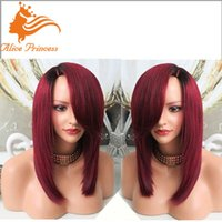 african americans with red hair - Top Quality Human Wigs African American Women Popular Red Wig With Side Bang A Lace Front Brazilian Wig For Women