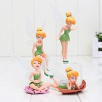 bell micro - 4pcs set Tinker Bell Figures Tinkerbell Fairy Adorable PVC Action Figure Toys Micro Landscape Collection Model Toy