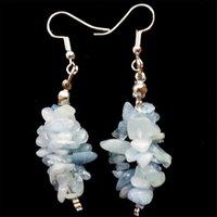 aquamarine chandelier earrings - A Pair Plated Silver Hook Semi Aquamarine x15mm Chip Earrings