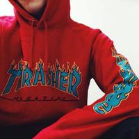 Wholesale Trasher Hoodies and sweatshirts mens womens flame Gosha Rubchinskiy hoodies hip hop palace skateboard thrasher hoodie