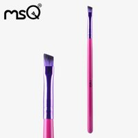 angled paint brush - MSQ High Quality Single Angled Eyebrow Makeup Brush With Painted Wooden Handle For Fashion Beauty Cosmetics