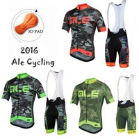 Wholesale 2016 New Arrival Ale Cycling Jerseys Short Sleeve With Padded Bib Trousers Red Fluo Yellow Green Men Summer Bicycle Clothing XS XL