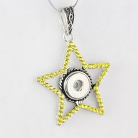 Wholesale Mixed Style Brand New NOOSA Pentagram Rhinestone Necklace Pendant Fit mm DIY Ginger Snap Button Necklace Jewelry NAB0086