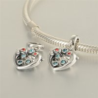 Wholesale Fit pandora charm Bracelets Sterling Silverdouble dophin dangle charms Beads for women DIY fine jewelry pendant necklace perles mincanga