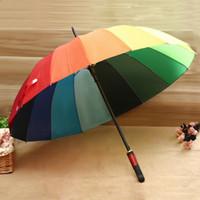 Wholesale NEW Cheapest k Rainbow Umbrella Korea Style Adult automatic Long handle Umbrellas Straight rod umbrella for Women Men