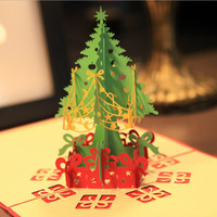 Wholesale pieces Handmade Creative Kirigami Origami D Pop UP Greeting Gift Christmas Cards with Christmas Tree