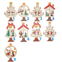 bamboo hanging - Hot Christmas Ornaments Christmas Tree Santa Claus Bell Star Bow Decorations Home Festival hanging Ornaments
