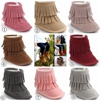 Wholesale 2017 Fashion Baby Layer Fringe Style Boots Dark Long Tassel Design Baby Shoes Soft Sole Non slip Infant Toddles Winter Snow Boots