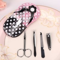 Wholesale Pink Black Dot Flip Flop Pedicure Set Slippers in Nail Clippers Sets Manicure Set Wedding Favors Gifts SETS