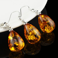 Wholesale Women s Fashion Amber Tear Drop Baltic k Platinum Plated Pendant Necklace Earring Wedding Jewelry Set L40701