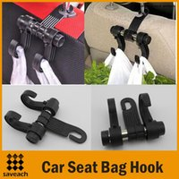 Wholesale Black in Auto Car Venhicle Seat Bag Hook Car Seat Headrest Hanger Holder Bags Organizer Accessories With Retail box