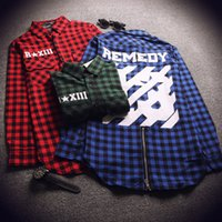 Wholesale New Hip hop Pyrex Off White brand plaid shirts Long sleeve Zipper Man extended Casual shirt Remedy mens dress shirts clothes camisas hombre