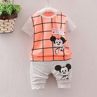 Cheap 24 styles cute Mickey bow bicylce summer baby clothes set short sleeve shirts boy girls outfit cool fashion clothing wear