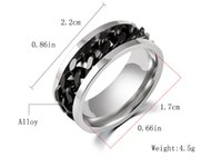 Wholesale Europe and the United States fashion trend in stainless steel trichromatic rotating chain ring ring personality