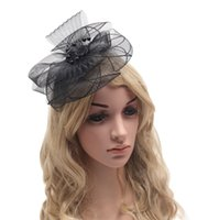 Wholesale 2016 Fascinator Women Hair Headband with Clip Vintage Fashion Lady French Veiling Big Size Colors Wedding Hair Decoration Accessories