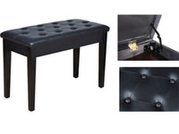 Wholesale Black Leather Ebony Concert Duet Piano Bench Padded Seat