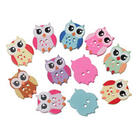Wholesale 100PC Random Mixed Hole Owl Wood Buttons Scrapbooking Sewing Buttons mm X17mm Inch X Inch For Crafts I245L
