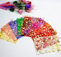 baby jewelry box - 100pcs cm Heart Organza bag Candy Bags Jewelry bag Gift bags For Wedding Party Baby Shower Favor