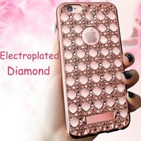 Wholesale Fashion Electroplate Diamond carnelian phone Soft cover Case with logo window for iphone s plus Samsung S6 edge S7 S7 edge