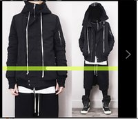 Wholesale New Kanye Style RickOwens Men MA1 Collar Hooded Jacket Dark Series Pilots Loose Coat Men s Clothing Casual Outerwear