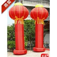 Wholesale 6 m column dragon lanterns opening ads wedding celebration inflatable arches custom