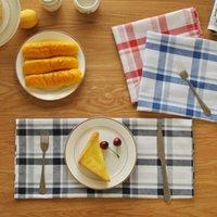 Wholesale Checked Cotton Dinner Cloth Japanese Korea Style Home Textiles cm Table Napkin Placemat MOQ Piece