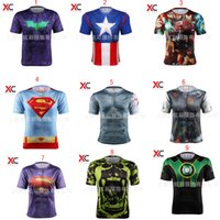 Wholesale 53 styles Superhero D short sleeved T shirt Deadpool Batman spider man captain America Flash Iron Man Marvel Tee tops for man C887