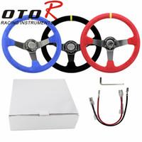 Wholesale OTO R inch mm Suede Leather deep Corn Drifting Steering Wheel Racing Steering Wheels