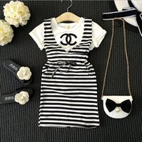 cotton dress materials - 2016 New Summer Kids Girl White Shirt Striped Dress Girls Outfits Cotton Material Kids Gril Fashion Brand Clothing Sets YR37