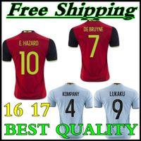 Wholesale 2016 Belgium Home Away Jersey Belgium Euro LUKAKU FELLAINI E HAZARD KOMPANY best quality shirt