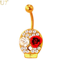 bell rock - unique Gold Crystal Skull Rose Navel Ring Women Cute Body Jewelry K Gold Plated Platinum Rock Beach Party Belly Button Ring DB004