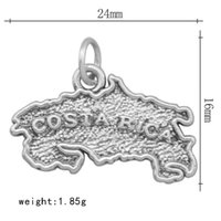 ancient map - quot costa rica quot Popular explosion models zinc alloy charms ancient silver letters alloy map Pendant DIY accessories