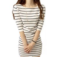 Wholesale Hot new brand women High quality large size striped dress S M L XL XXL