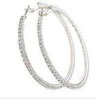 beaded hoop earrings - 60MM Elegant Sterling silver Round Crystal Beaded Hoop Earrings for Women Silver Hoop Earrings Party Earrings Women Fashion Jewelry