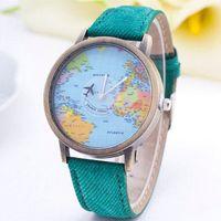 airplane patterns - 2015 New Fashion Casual Watch Women Wristwatch Personality World Map Airplane Pattern Fabric Leather Quartz Watch Relogio Clock