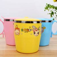 Wholesale High quality stainless steel ml children cup with handle Water Bottle Training Bottle BPA Free kids Colorful Cartoon Mug