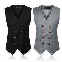 Wholesale Men s Clothing British Style Slim Colete Masculino Cotton Double Breasted Sleeveless Jacket Waistcoat Men Suit Vest