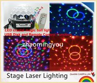 Wholesale LED RGB Crystal Magic Ball Effect Light MP3 Music Stage Laser Lighting Lamp with USB Disk and Remote Control Function