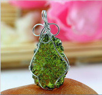 Wholesale A Natural Moldavite green aerolites crystal stone pendant energy apotropaic g g free rope