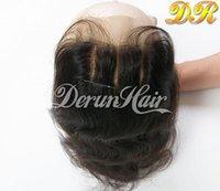 al por mayor cierres humanos dhl-El pelo brasileño del 100% que parte 5x5 encierra la onda del cuerpo de la tapa del encierro de la tapa / el envío libre natural recto DHL del encierro del pelo humano del color