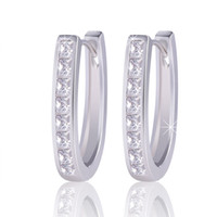 Wholesale Fashion Statement Jewelry K White Gold Plated Classic Hoop Earrings Women Brinco Earing Gift ES100