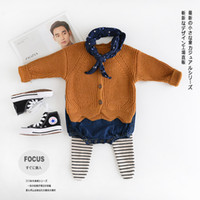 Wholesale Girls pure cotton solid color knit coat children clothing cardigan sweater Autumn Winter new hot sale fashion style