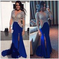 achat en gros de zuhair murad robe de paillettes bleu-Robes de soirée de célébrité zuhair murad Kim kardashian yousef bleu aljasmi A-ligne Jewel à manches longues Sweep Train Sequins Split