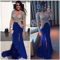 al por mayor vestido azul de lentejuelas de zuhair murad-Vestidos de celebridades de la noche zuhair murad Kim kardashian yousef aljasmi azul A-line Jewel Long Sleeve Sweep tren Sequins Split
