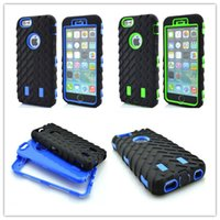abs pattern - 3in1 hybrid phone case cases for iphone s plus s s5 s6 TPU PC Tire pattern defender case holder protector case GSZ151