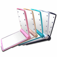 Wholesale Wholesales Cosmetic Mirrors Portable Travel LED Hand Makeup Folding Lady Girl Compact Pocket Mirror Lights Lamps With Retail Package