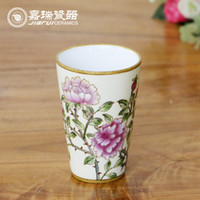 Wholesale 200ml Beautiful hand painted Chinese Drink Ceramic Cups floral and birds Coffee Tea Cups Mugs without handle Drinkware Tumbler