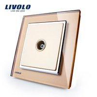 Wholesale New Wall Socket for TV Livolo Luxury Crystal Glass Socket for TV VL W291V