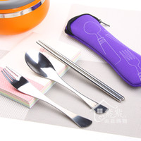Wholesale High Quality Eco friendly Women Girl Outdoor Portable Lunch Stainless Steel Chopsticks Spoon Fork Tableware Sets