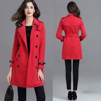 best trench - Women Christmas Red Trench Coats European Runway Top Fashion Style Cotton Comfortable Best Price Fast Shipping OL Windbreaker BC1175